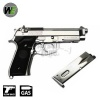 M9A1 with Rail & Adjustable Hop Up Full Metal Pistol Silver GBB WE