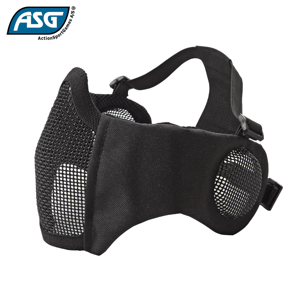 Metal Mesh Mask with Cheek Pads and Ear Protection Black ASG