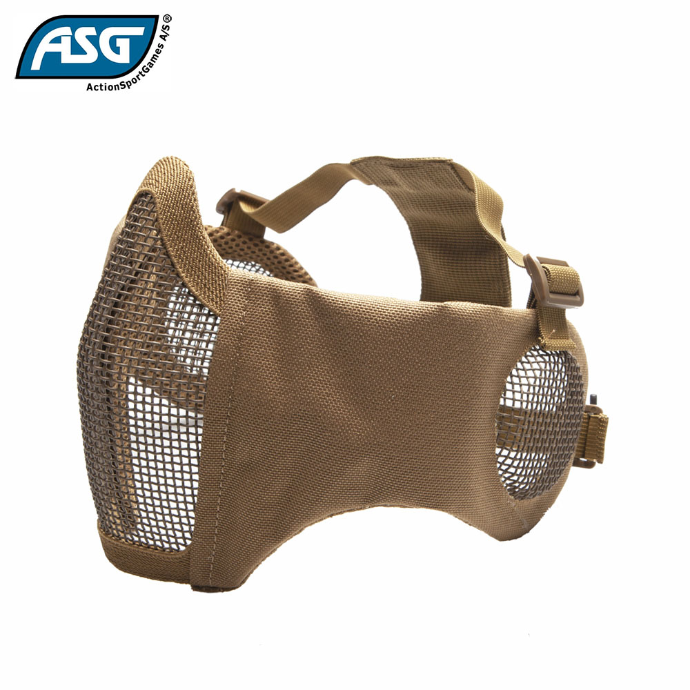 Metal Mesh Mask with Cheek Pads and Ear Protection Tan ASG