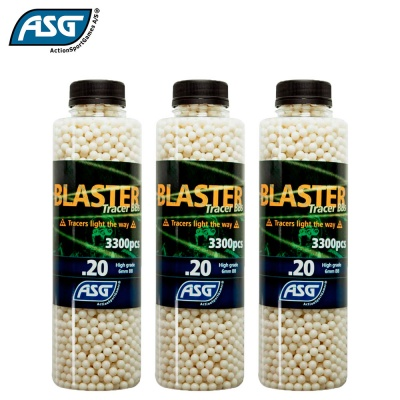 3x Blaster 0.20g Tracer BBs Bottle of 3300 ASG