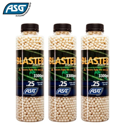 3x Blaster 0.25g Tracer BBs Bottle of 3300 ASG