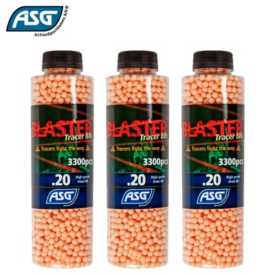 3x Blaster 0.20g Red Tracer BBs Bottle of 3300 ASG