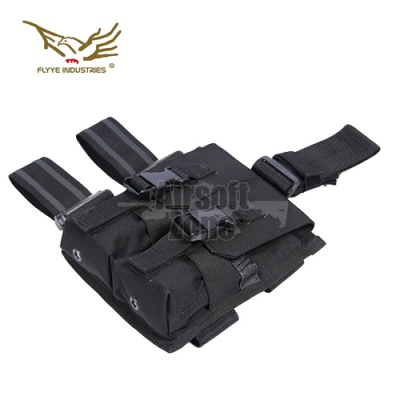 Drop Leg Double M4/M16 Magazine Pouch (holds 4 mags) Black FLYYE