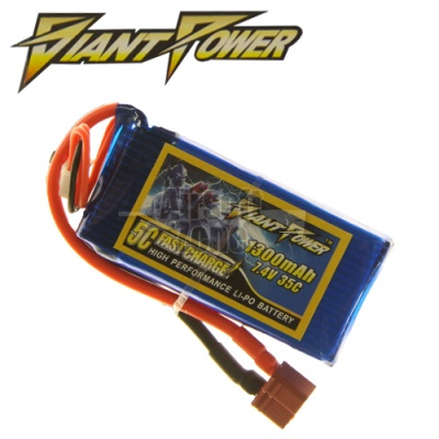 7.4V 1300mAh 35C LiPo Square Battery Giant Power