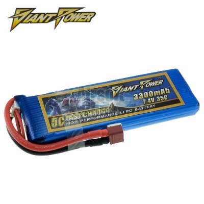 7.4V 3300mAh 35C LiPo Square Battery Giant Power
