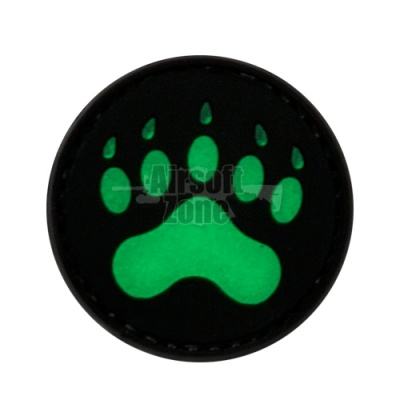 Bear Paw PVC Velcro Glow in the Dark Patch