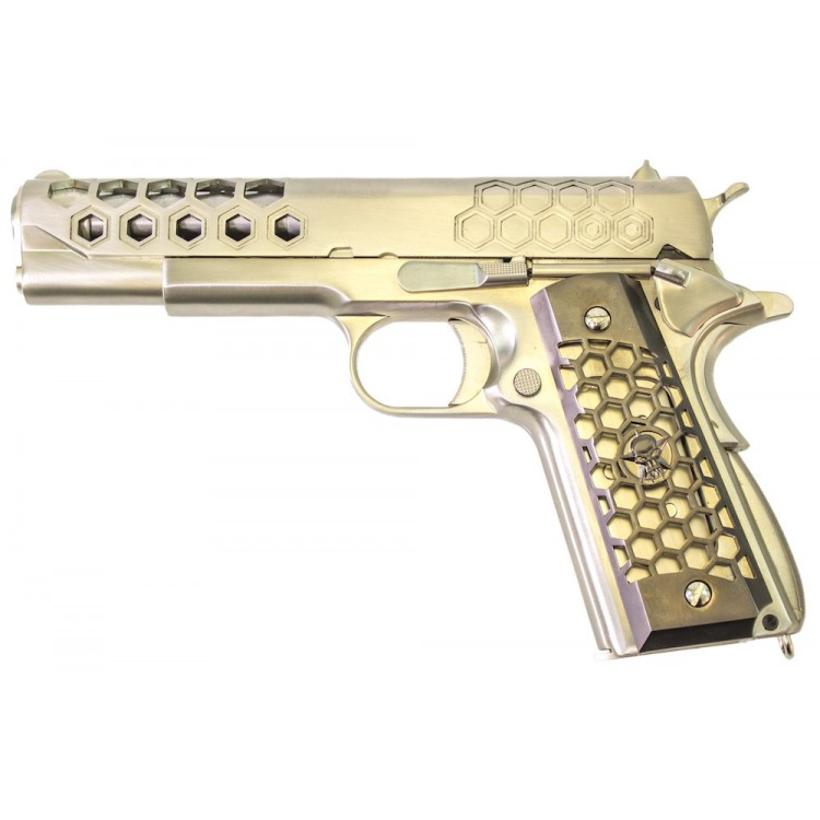 M1911 Hex Full Metal Silver Pistol GBB WE