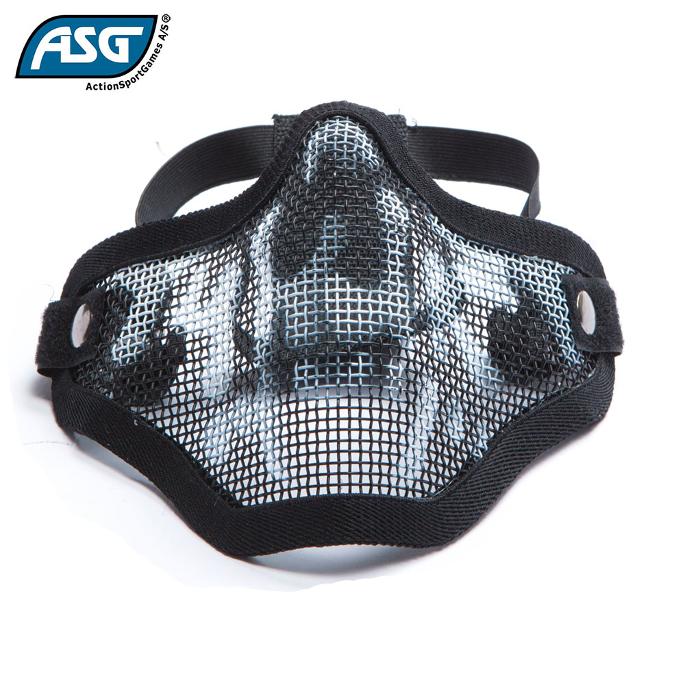 Half Face Mesh Skull Mask Black with Double Strap ASG