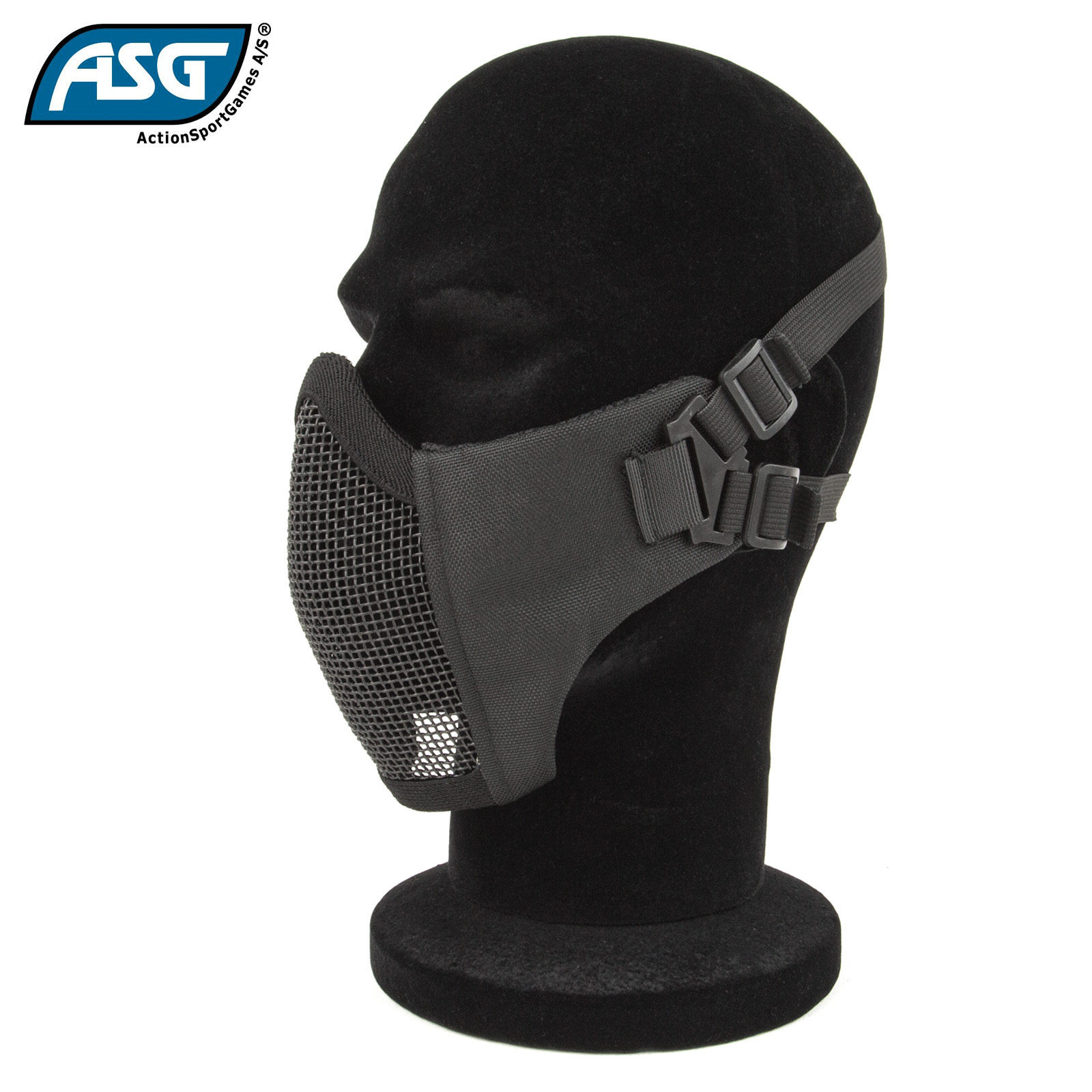 Half Face Mesh Mask Black with Cheek Pads ASG