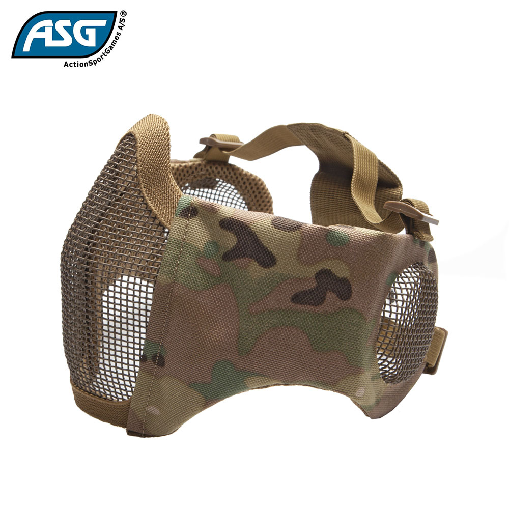Metal Mesh Mask with Cheek Pads and Ear Protection Multicam ASG