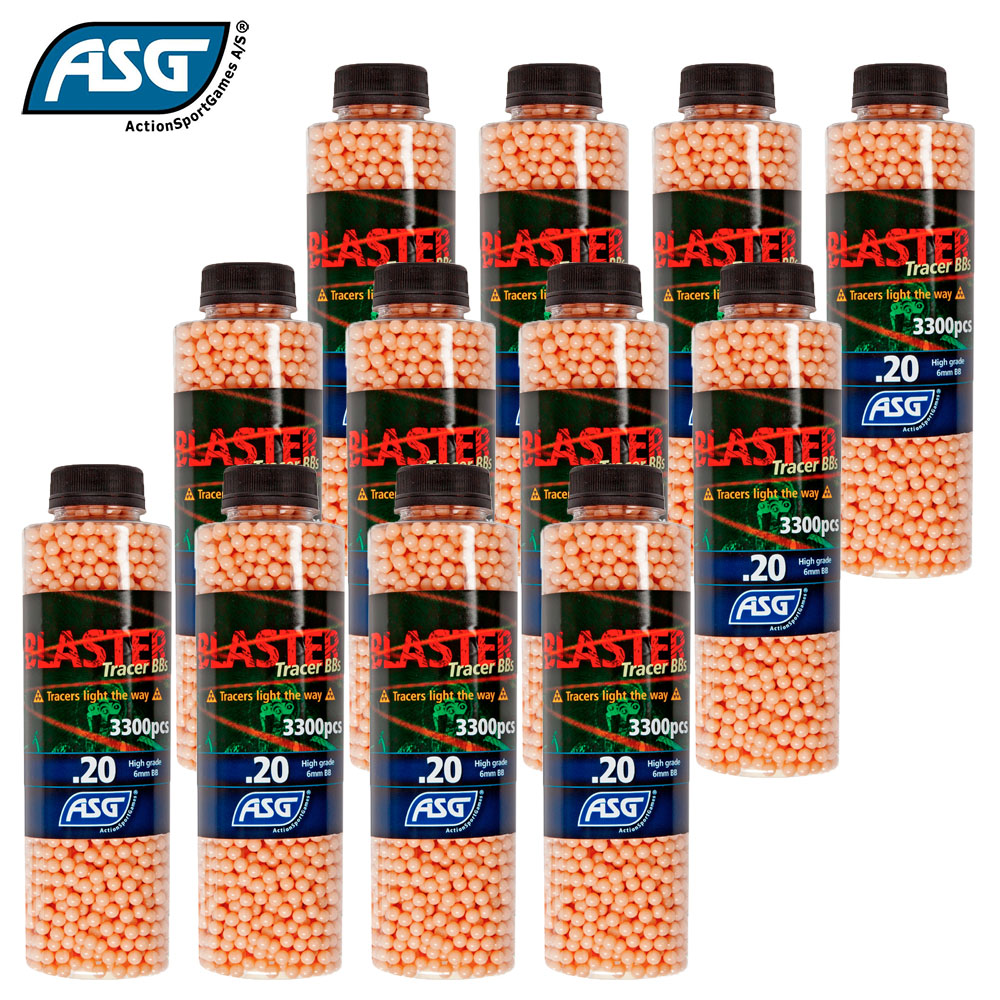 12x Blaster 0.20g Red Tracer BBs Bottle of 3300 ASG