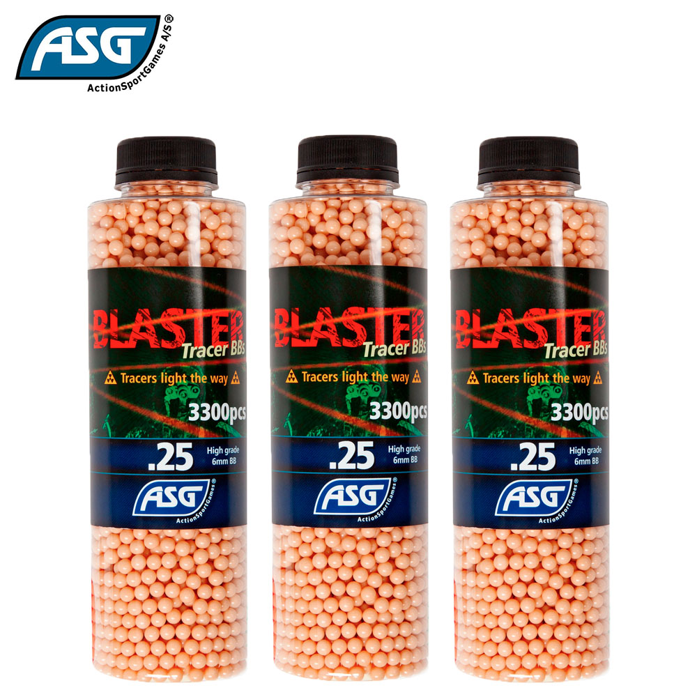 3x Blaster 0.25g Red Tracer BBs Bottle of 3300 ASG