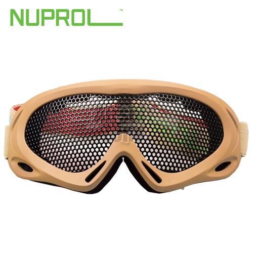 Pro Wire Mesh Goggles Large Tan NUPROL