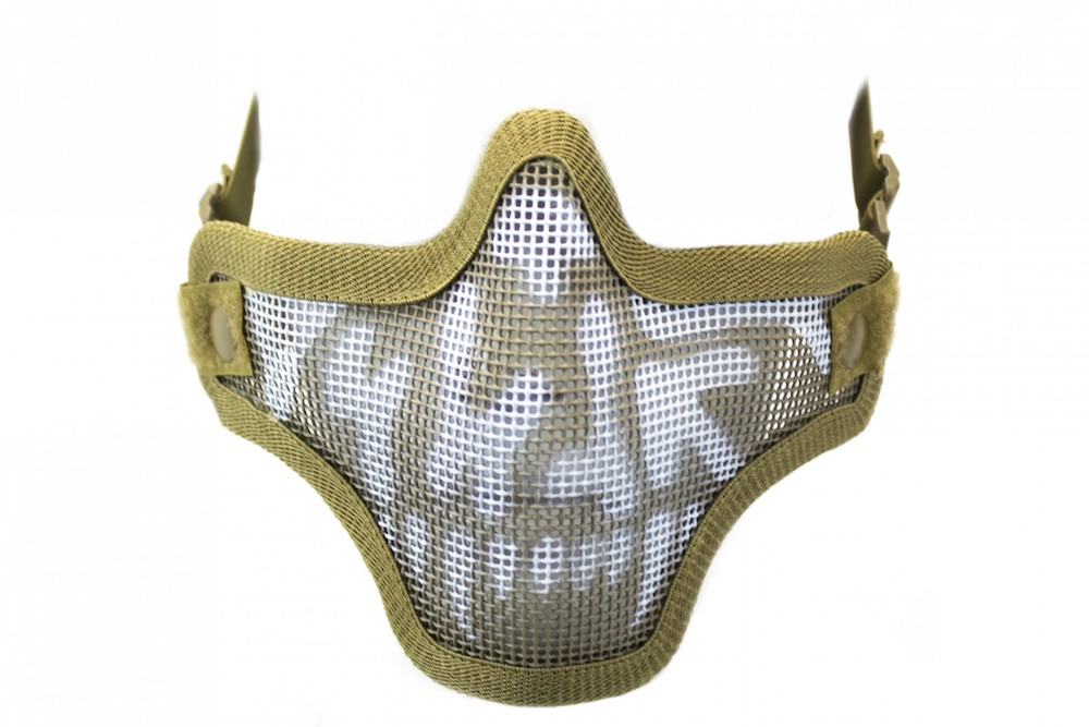 Half Face Mesh Skull Mask Tan with Double Strap NUPROL