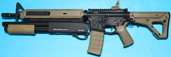 M4 Magpul Battle Rifle with Masterkey Shotgun Dark Earth AEG G&P