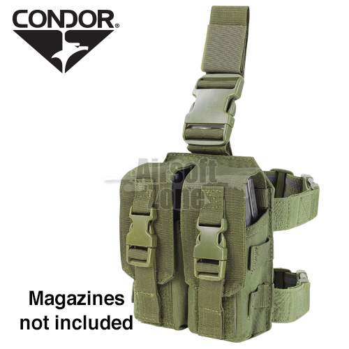 Drop Leg Double M4 Magazine Pouch (holds 4 mags) OD Green CONDOR