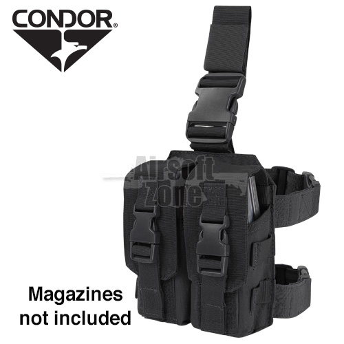 Drop Leg Double M4 Magazine Pouch (holds 4 mags) Black CONDOR