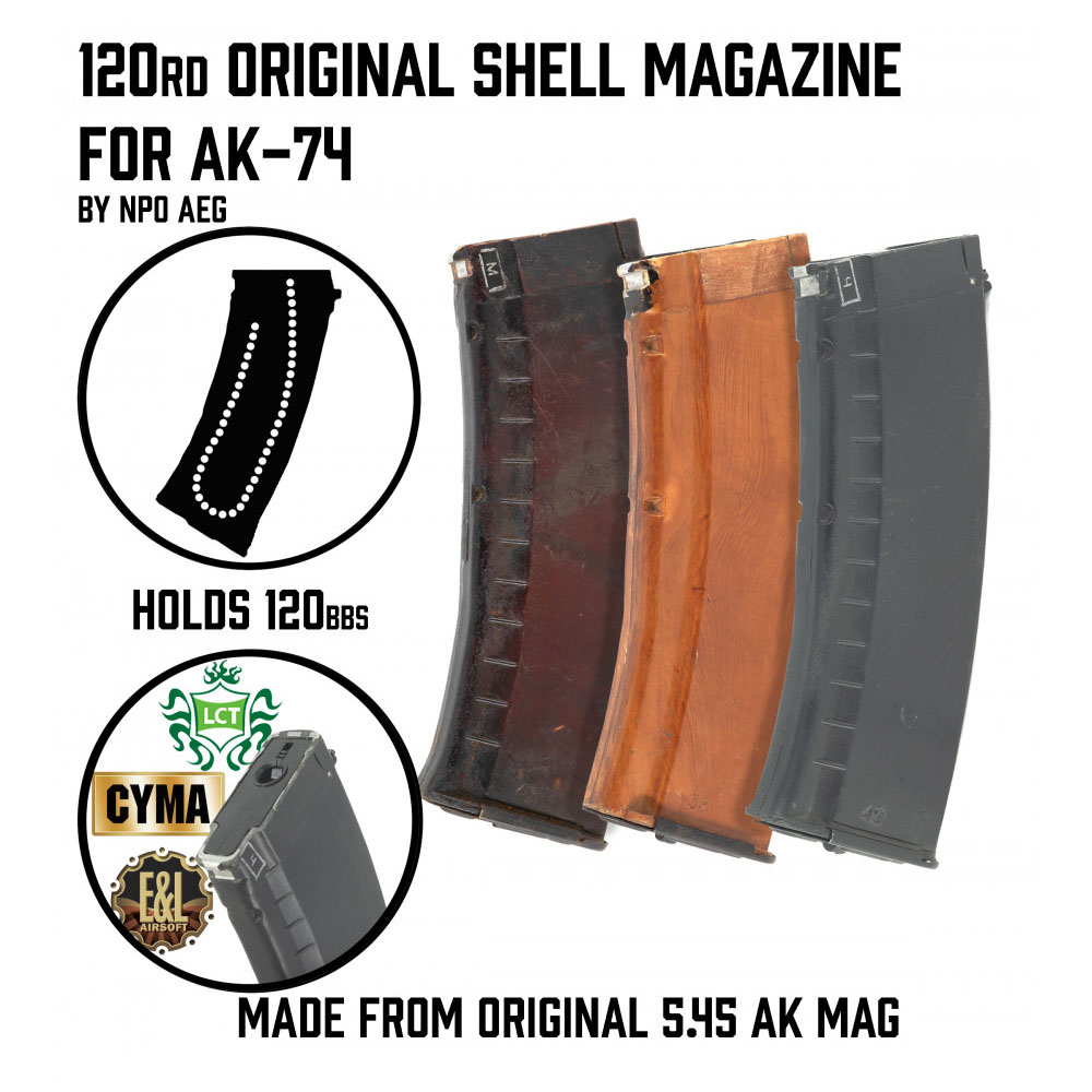 120rnd Real AK Shell Magazine for CYMA/LCT/E&L AEG AK's NPO