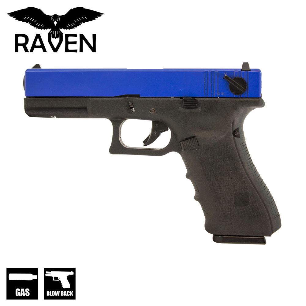 EU18C Full Auto Pistol Two Tone Blue GBB Raven