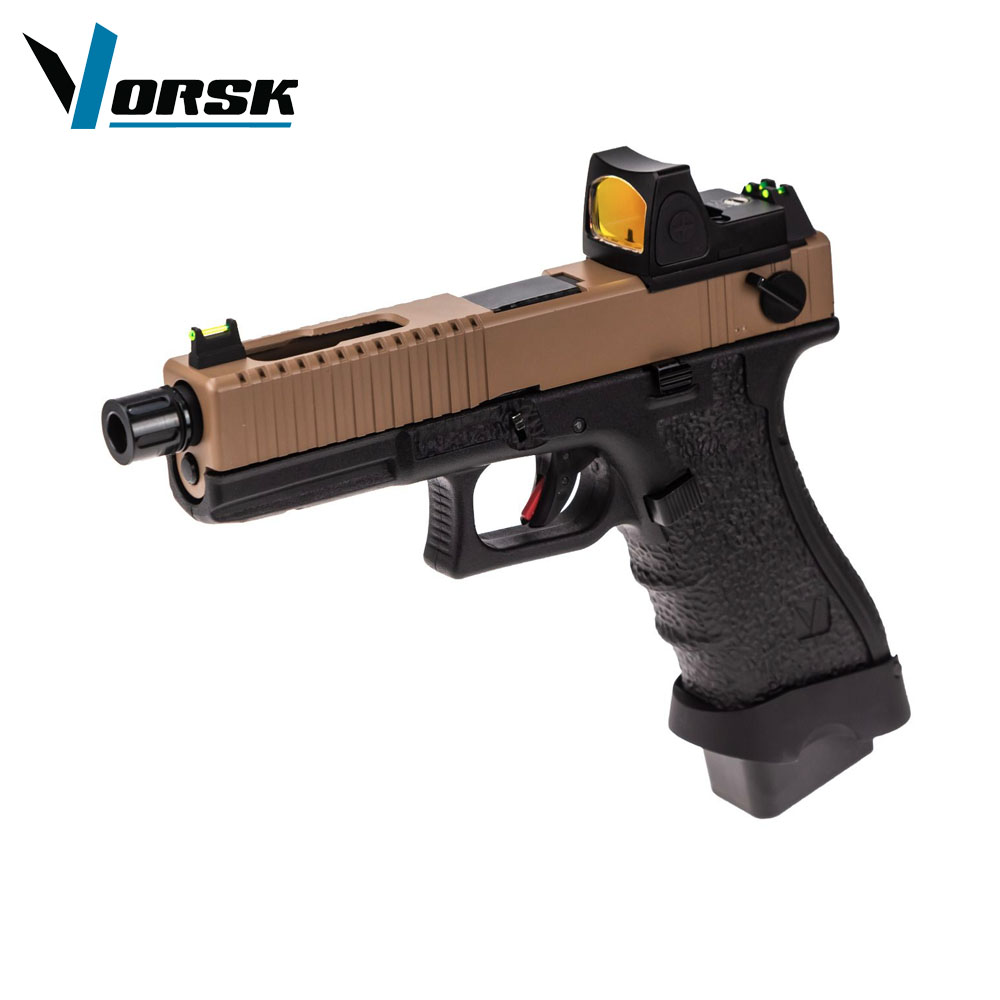 EU18C Tan with Red Dot BDS Optic Full Auto Pistol GBB VORSK