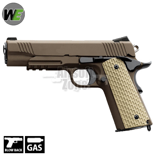 Kimber 1911 with Rail Full Metal Pistol Tan GBB WE